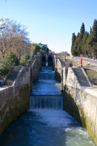 At the low part of the locks of Fonsérannes